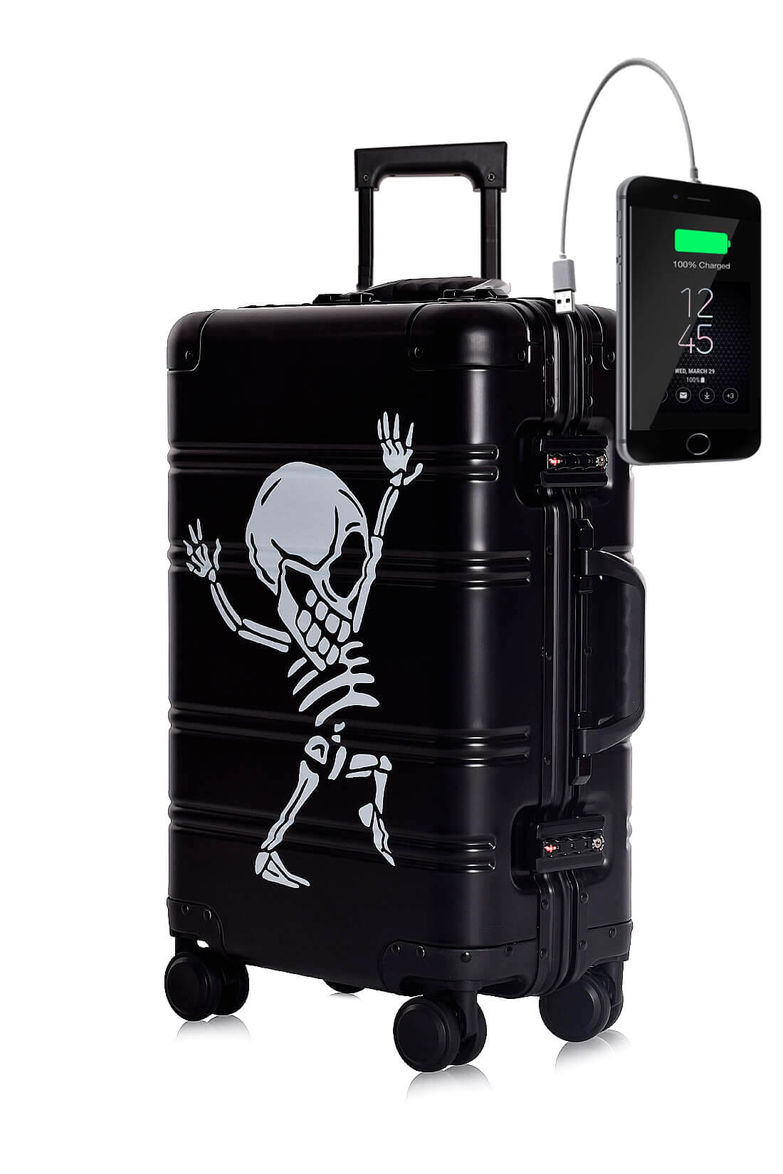 Aluminium Valise Online Cabine Trolley TOKYOTO LUGGAGE Modelle Black Skull
