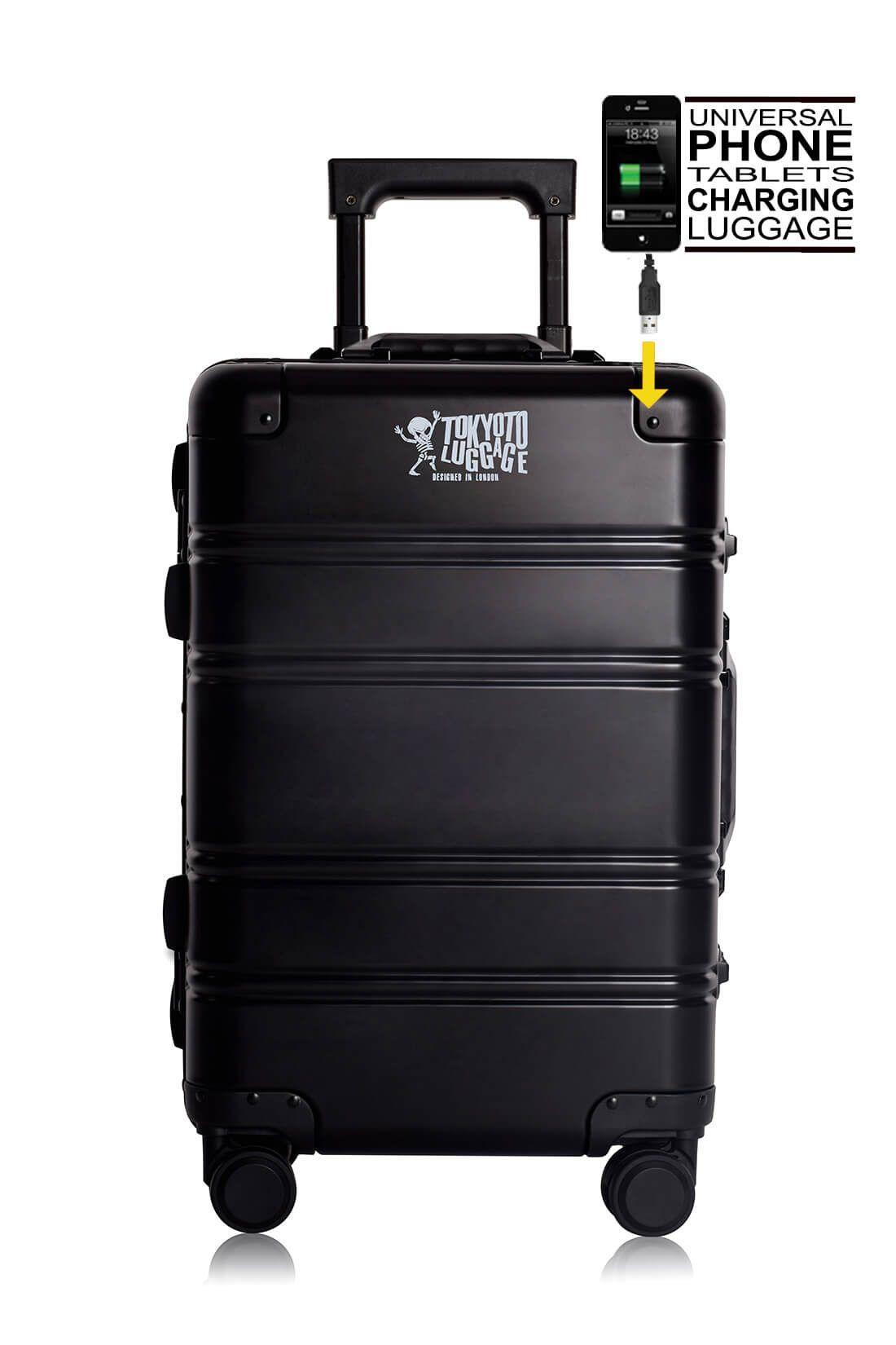 Valise Aluminium Online Cabine Trolley Avec Chargeur Powerbank TOKYOTO LUGGAGE Modelle BLACK LOGO 1