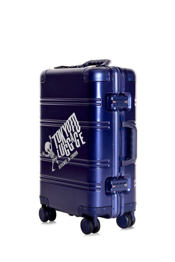 Valise Aluminium Online Cabine Trolley Avec Chargeur Powerbank TOKYOTO LUGGAGE Modelle BLUE LOGO 2