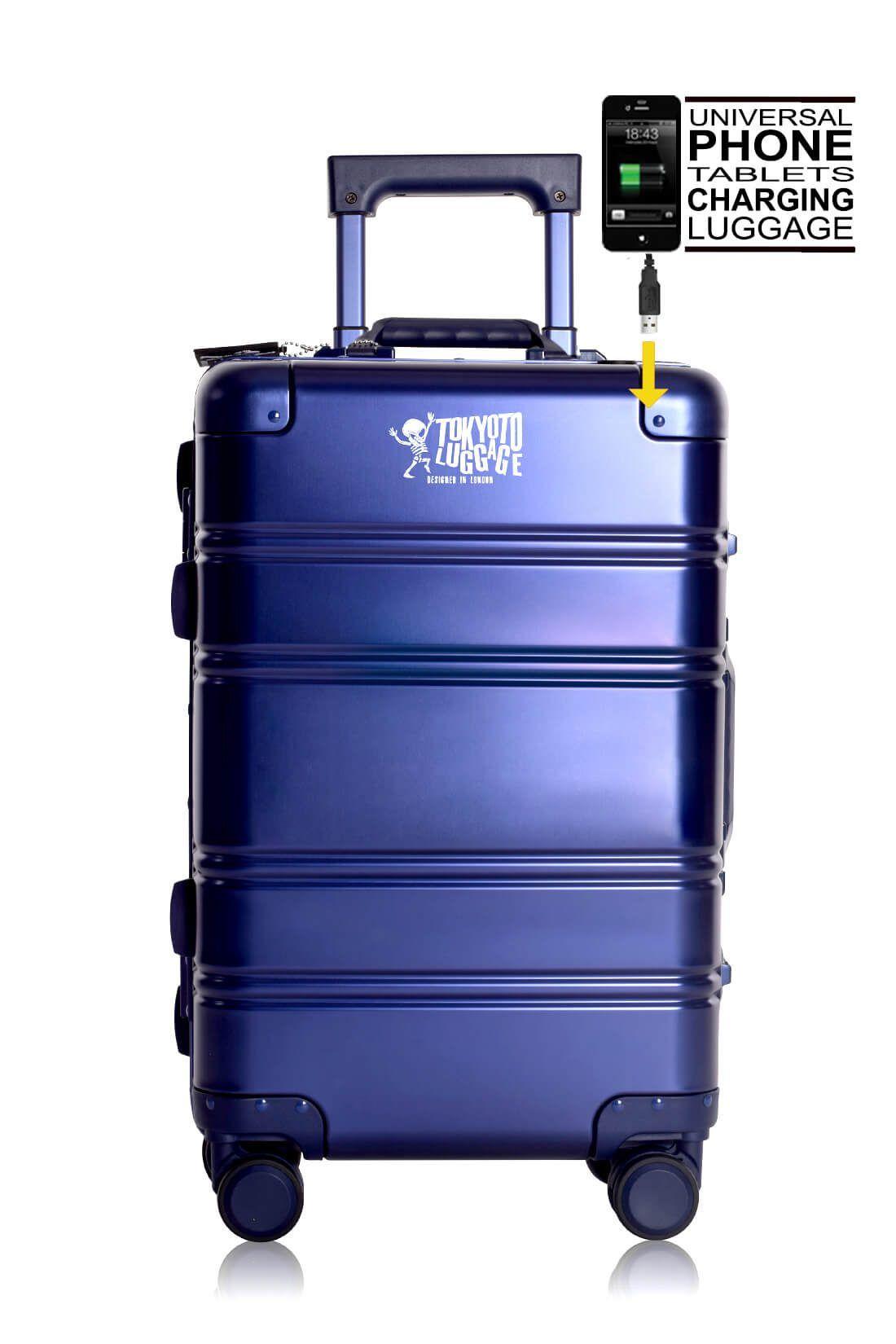 Valise Aluminium Online Cabine Trolley Avec Chargeur Powerbank TOKYOTO LUGGAGE Modelle BLUE LOGO 3