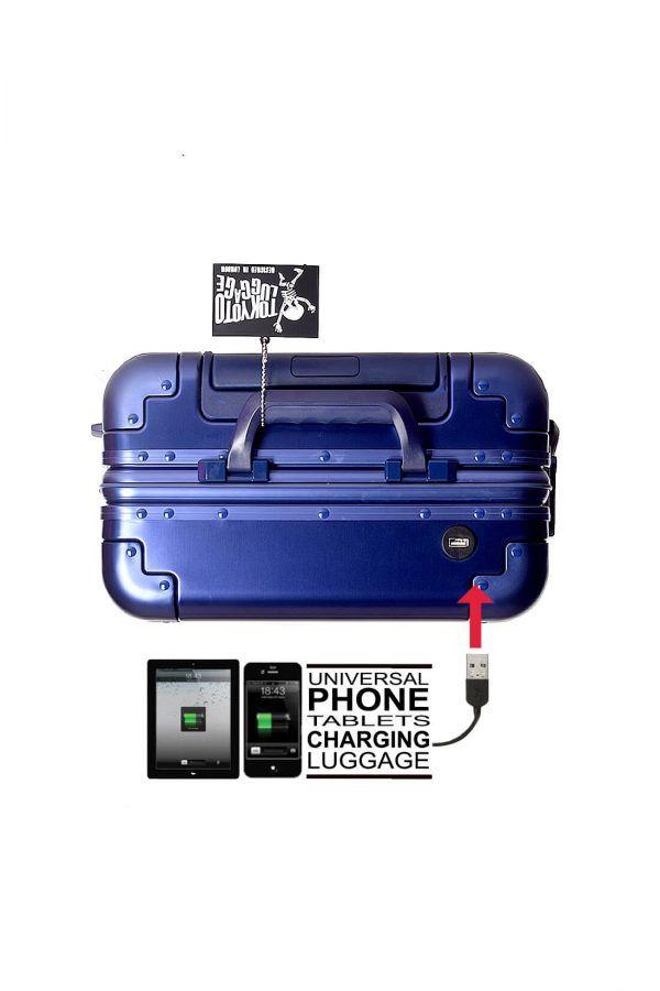 Valise Aluminium Online Cabine Trolley Avec Chargeur Powerbank TOKYOTO LUGGAGE Modelle BLUE LOGO 5