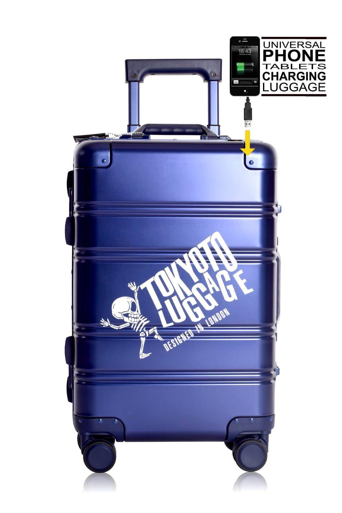 Valise Aluminium Online Cabine Trolley Avec Chargeur Powerbank TOKYOTO LUGGAGE Modelle BLUE LOGO 6
