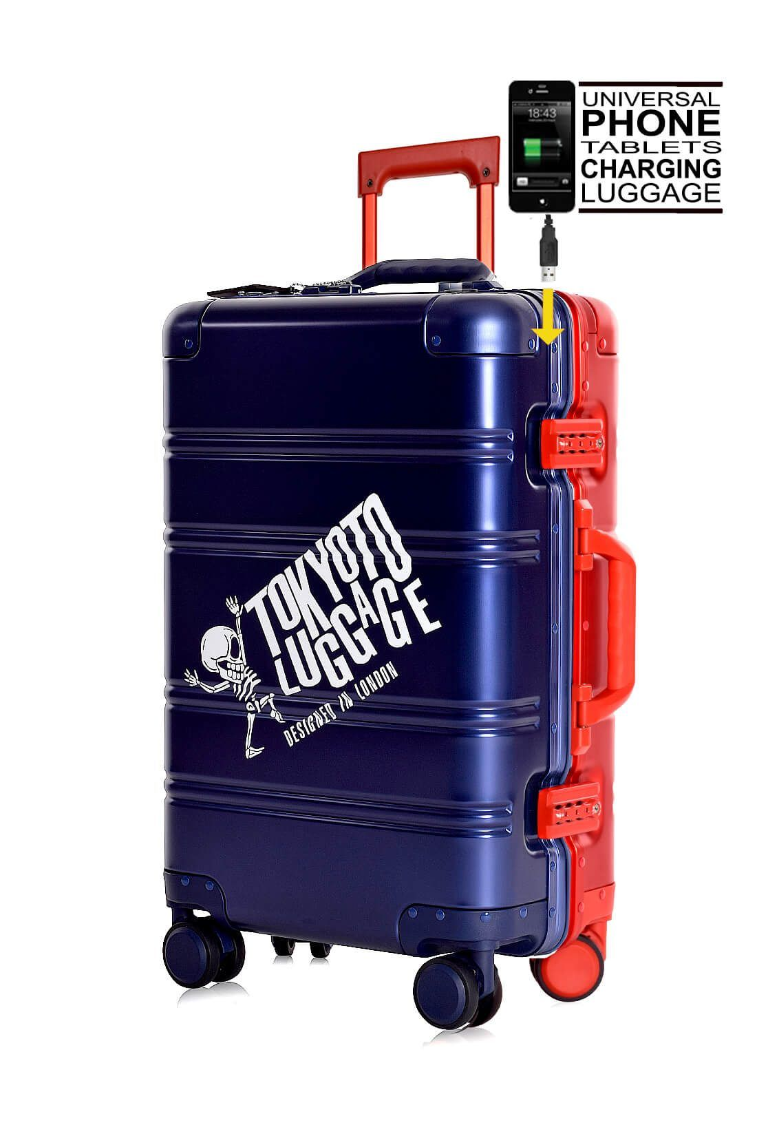 Valise Aluminium Online Cabine Trolley Avec Chargeur Powerbank TOKYOTO LUGGAGE Modelle BLUE RED 1