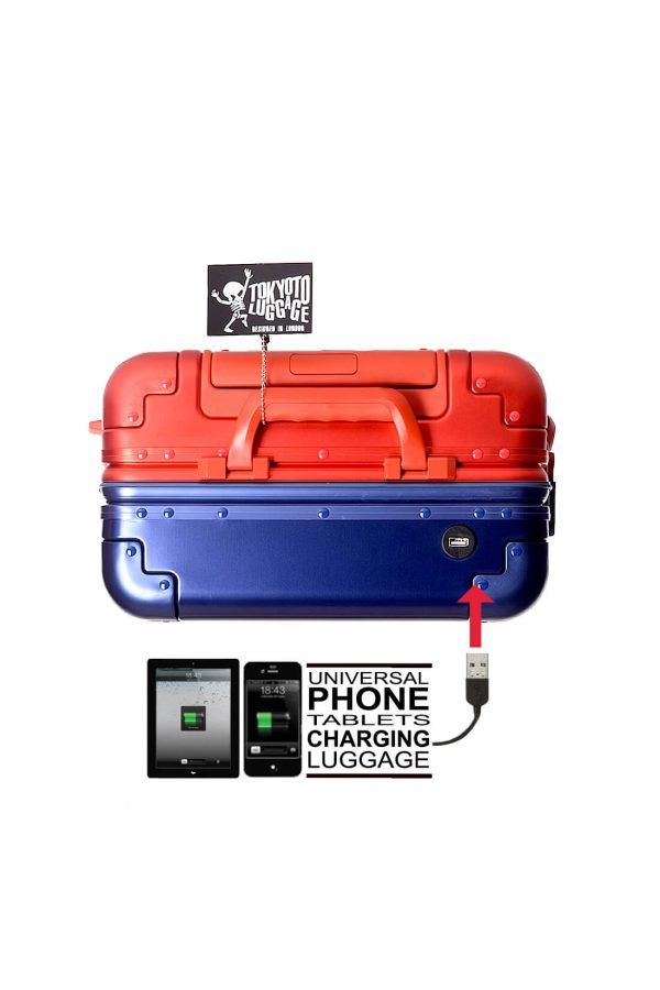 Valise Aluminium Online Cabine Trolley Avec Chargeur Powerbank TOKYOTO LUGGAGE Modelle BLUE RED 4