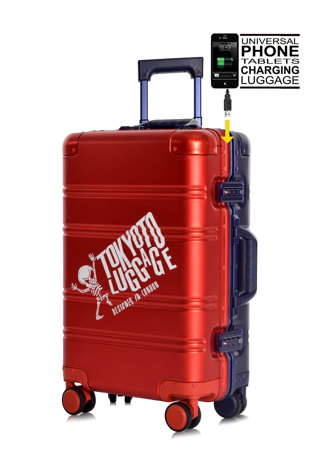 Valise Aluminium Online Cabine Trolley Avec Chargeur Powerbank TOKYOTO LUGGAGE Modelle RED BLUE LOGO 4