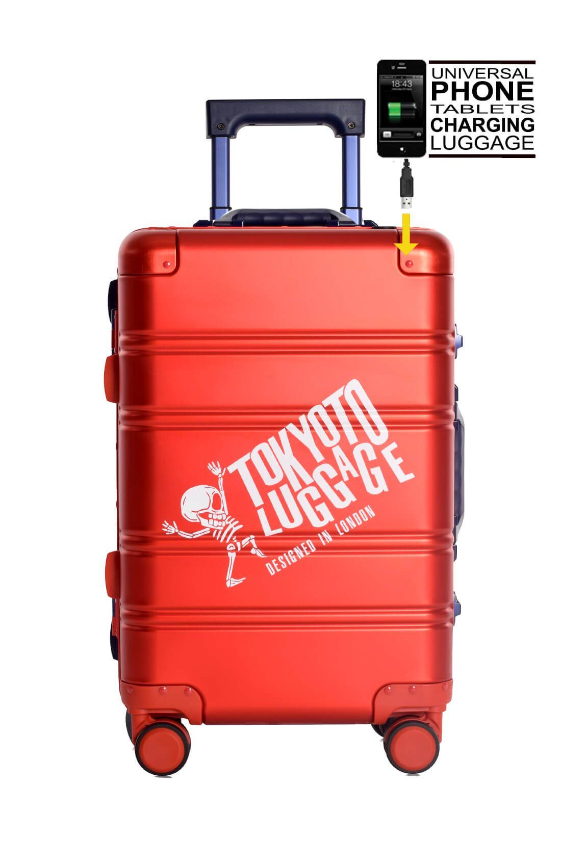 Valise Aluminium Online Cabine Trolley Avec Chargeur Powerbank TOKYOTO LUGGAGE Modelle RED BLUE LOGO 5