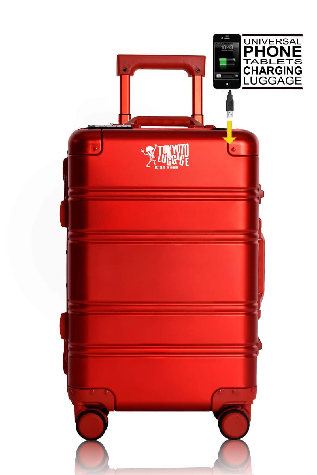 Valise Aluminium Online Cabine Trolley Avec Chargeur Powerbank TOKYOTO LUGGAGE Modelle RED LOGO 3