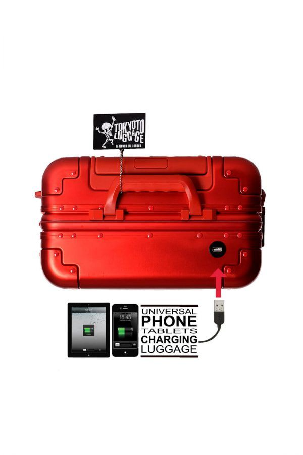 Valise Aluminium Online Cabine Trolley Avec Chargeur Powerbank TOKYOTO LUGGAGE Modelle RED SILVER 10