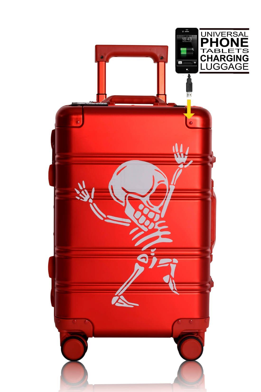 Valise Aluminium Online Cabine Trolley Avec Chargeur Powerbank TOKYOTO LUGGAGE Modelle RED SILVER 6 - copia