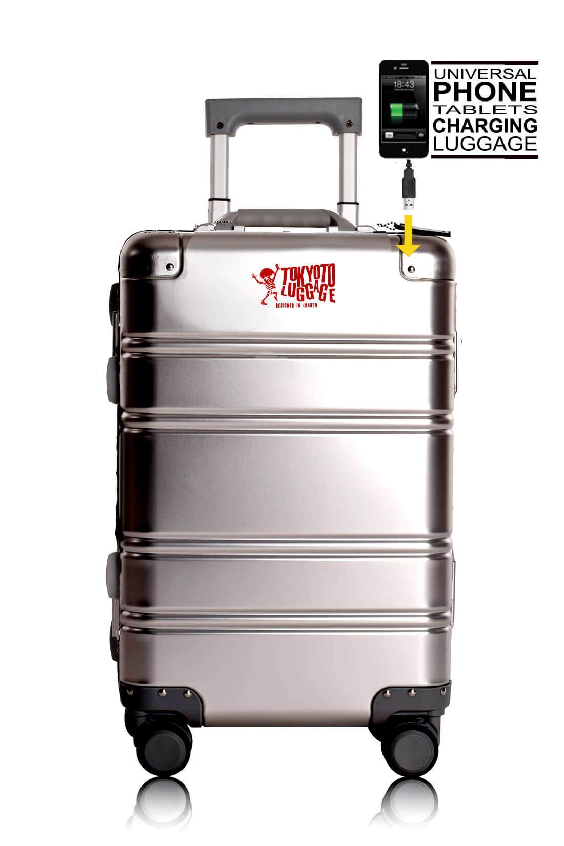 Valise Aluminium Online Cabine Trolley Avec Chargeur Powerbank TOKYOTO LUGGAGE Modelle SILVER LOGO 1