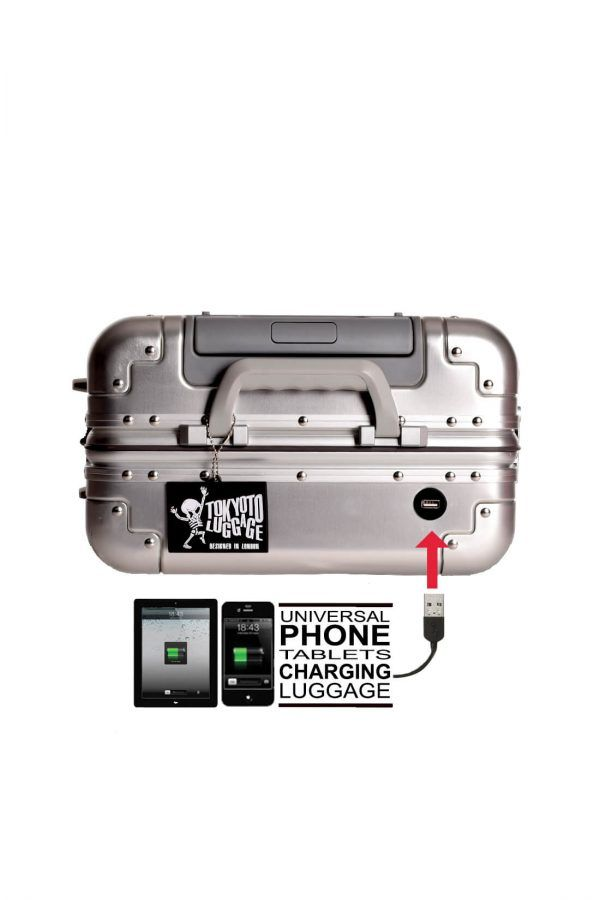 Valise Aluminium Online Cabine Trolley Avec Chargeur Powerbank TOKYOTO LUGGAGE Modelle SILVER SKULL 10
