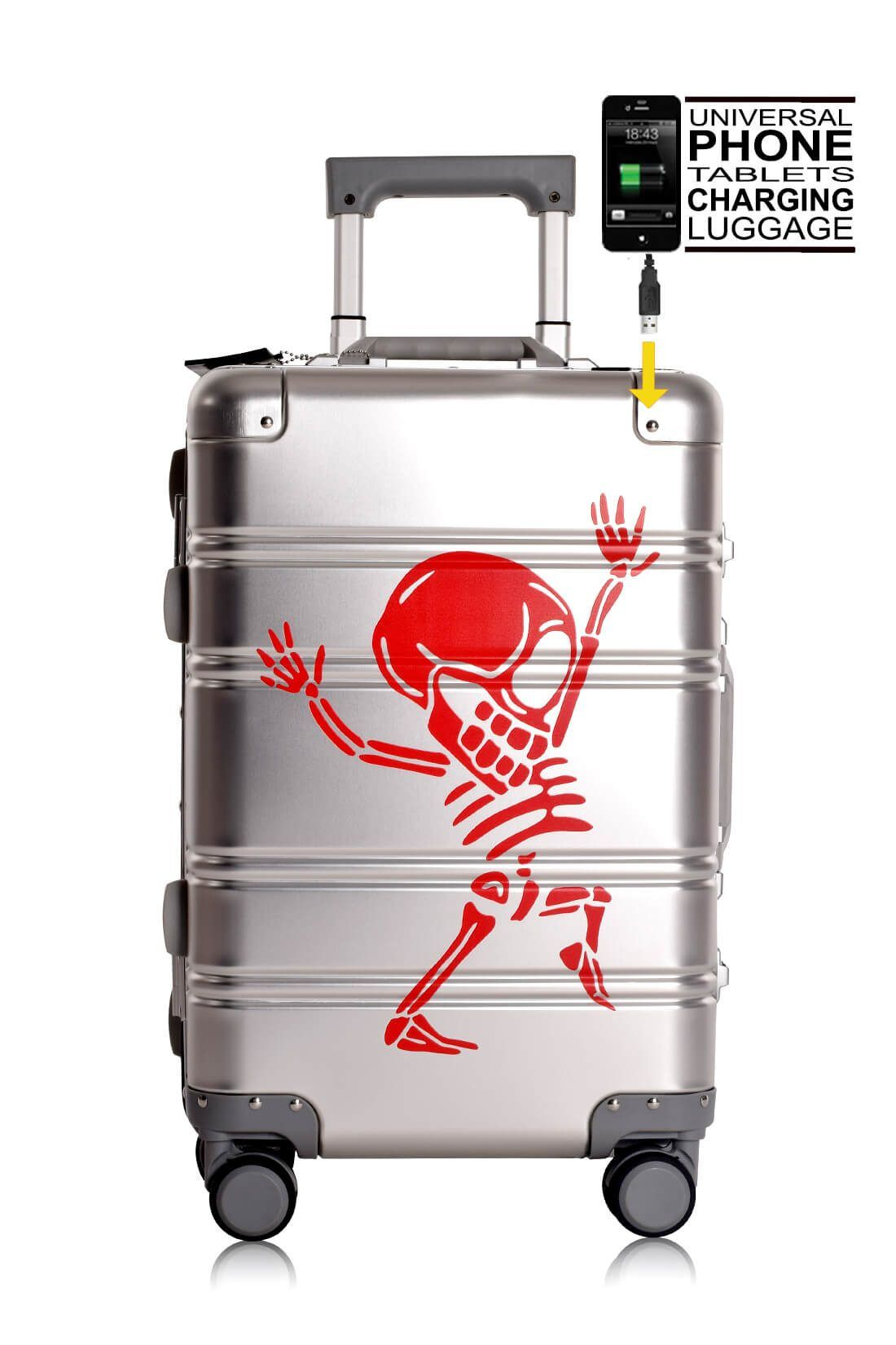 Valise Aluminium Online Cabine Trolley Avec Chargeur Powerbank TOKYOTO LUGGAGE Modelle SILVER SKULL 5