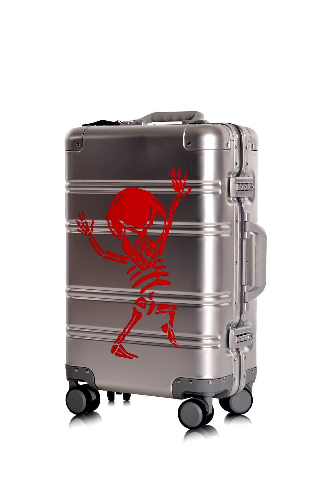 Valise Aluminium Online Cabine Trolley Avec Chargeur Powerbank TOKYOTO LUGGAGE Modelle SILVER SKULL 6