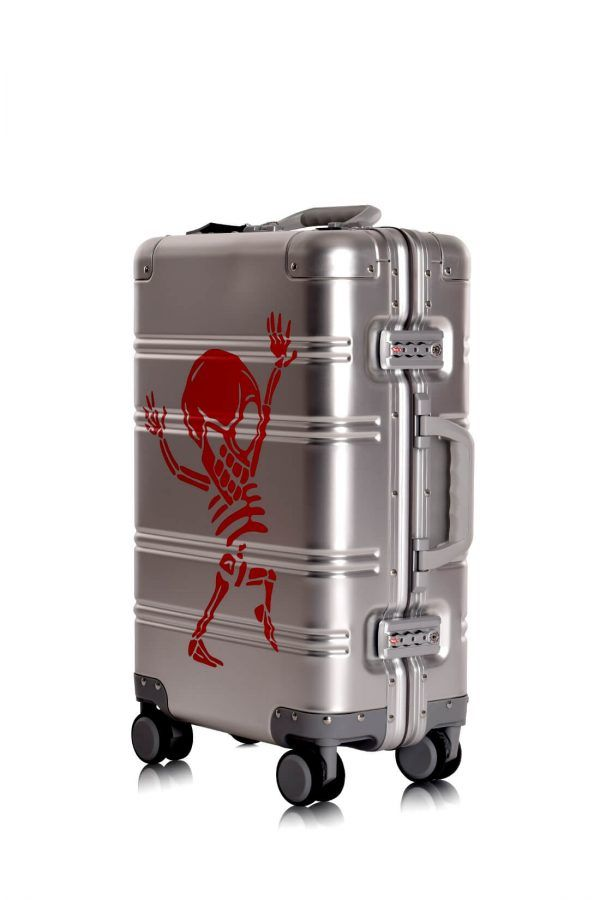 Valise Aluminium Online Cabine Trolley Avec Chargeur Powerbank TOKYOTO LUGGAGE Modelle SILVER SKULL 7