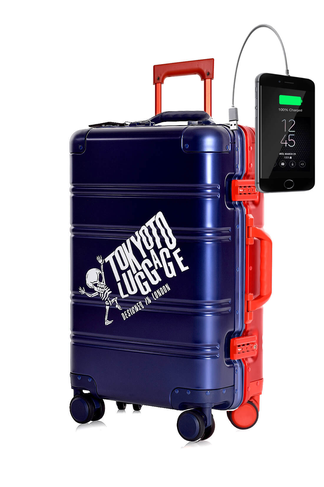 Aluminium Valise Online Cabine Trolley Enfant TOKYOTO LUGGAGE BLUE RED LOGO