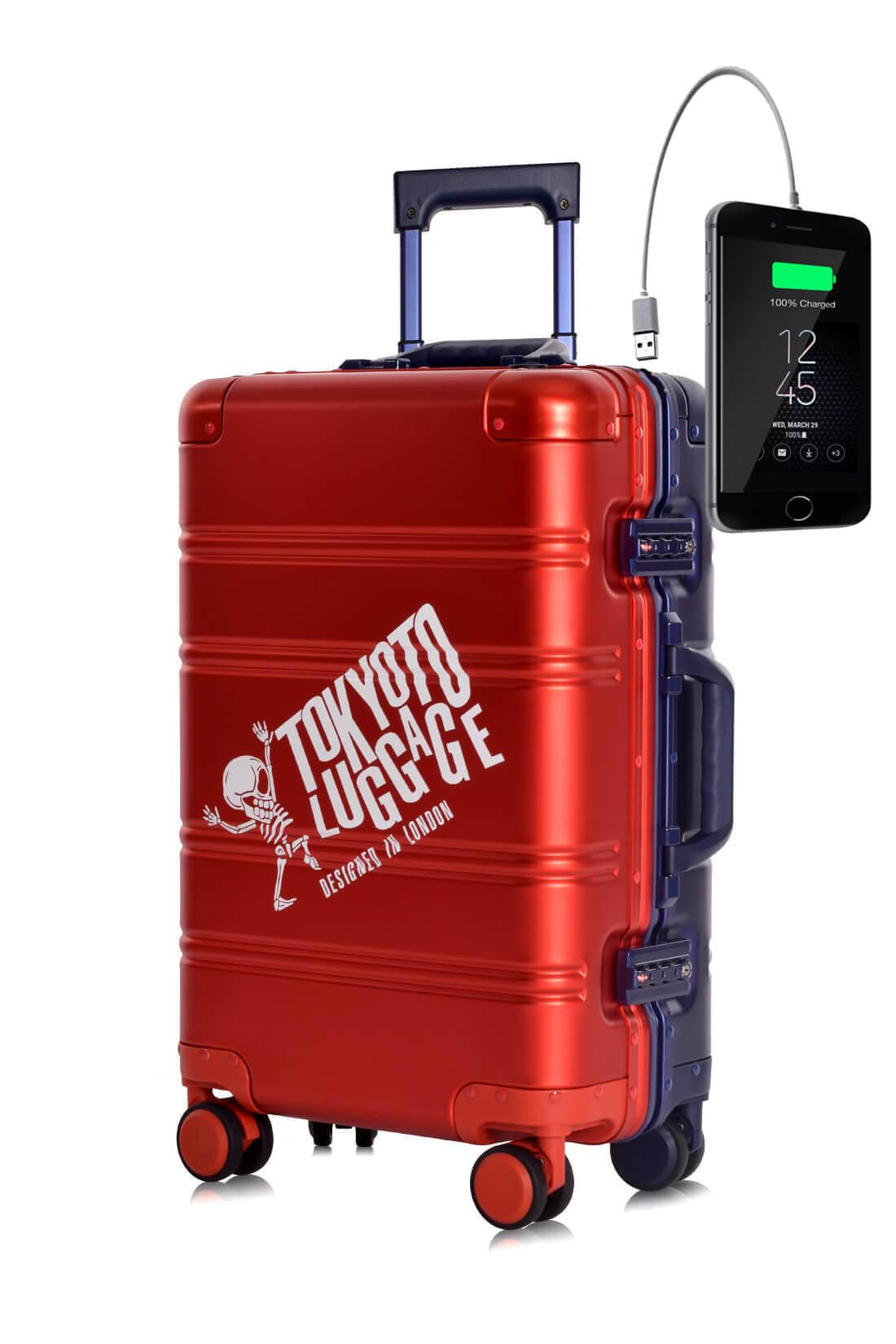Aluminium Valise Online Cabine Trolley Enfant TOKYOTO LUGGAGE Modelle RED BLUE LOGO