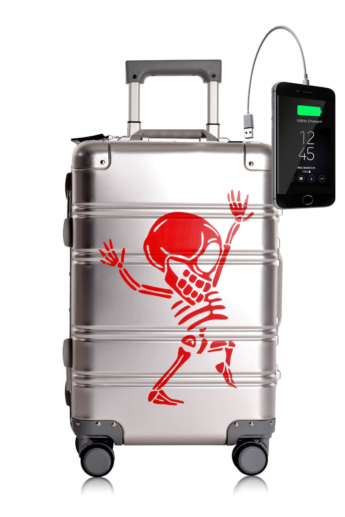Aluminium Valise Online Cabine Trolley Enfant TOKYOTO LUGGAGE Modelle SILVER SKULL