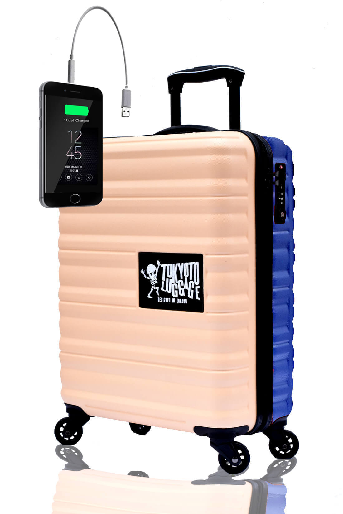 Unicolores Valise Online Cabine Trolley Enfant TOKYOTO LUGGAGE Modelle BEIGE BLUE